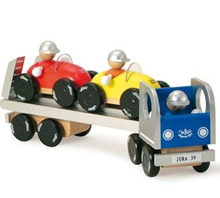 Camion en bois et ses deux voitures - Jouet en bois Vilac