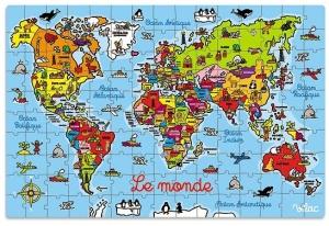 Puzzle Carte du monde pour enfant - Puzzle en bois de 150 pièces - Vilac