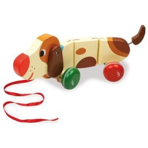 Chien en bois à tirer Basile le chien saucisse - Jouet premier âge