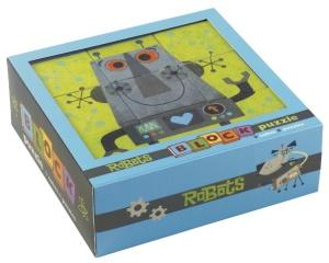 Cubes pour garçon sur le thème des robots - 9 cubes en carton pour enfant