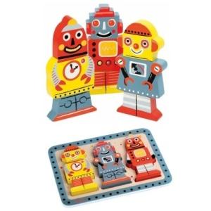 Puzzle en bois pour enfant Robot - Puzzle janod