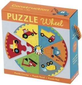 Puzzle Engins de Chantier - Puzzle rond - Puzzle 7 pièces - Puzzle Mudpuppy