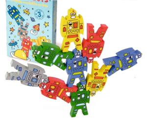 Jeu d'équilibre en bois La tour des Robots - Jeu en bois Vilac