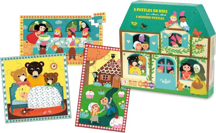 Coffret de trois puzzles pour enfant Les Contes de fées - Illustration Mélusine Allirol - Puzzle en bois Vilac