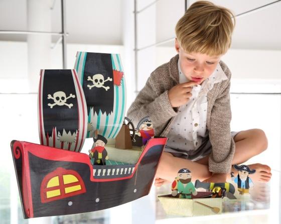 Bateau de pirates avec figurines et accessoires - Jouet en carton Krooom