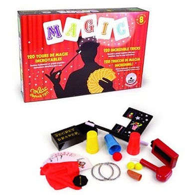 Coffret de magicien avec 120 tours de magie - Accessoires, livret, DVD - Vilac